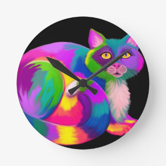 Colorful Calico Cat Round Clock