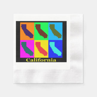 Colorful California State Pop Art Map Disposable Napkin