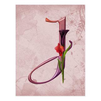 Colorful Calla Initial J Postcard