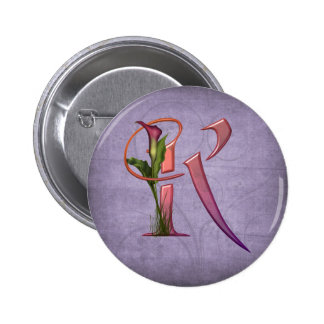 Colorful Calla Initial K 6 Cm Round Badge