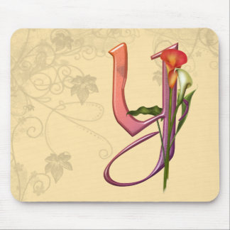 Colorful Calla Initial Y Mouse Pad