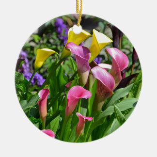 Colorful calla lily flowers christmas ornament