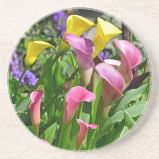 Colorful calla lily flowers drink coaster