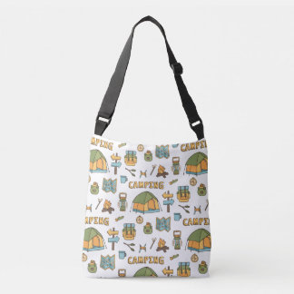 Colorful Camping Icons Pattern Tote Bag