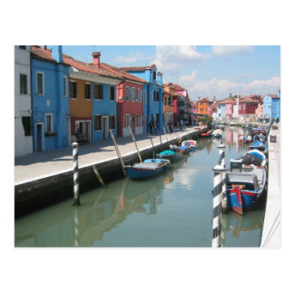 Colorful canal in Burano, Italy Postcard