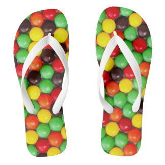 Colorful candies flip flops