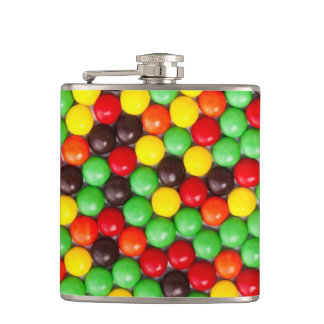 Colorful candies hip flask