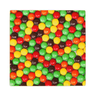 Colorful candies maple wood coaster