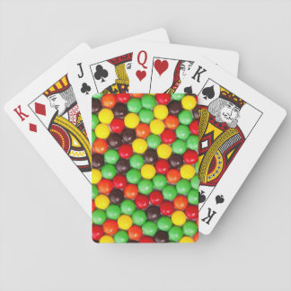 Colorful candies playing cards