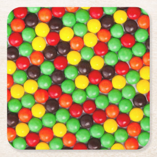 Colorful candies square paper coaster
