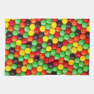 Colorful candies tea towel