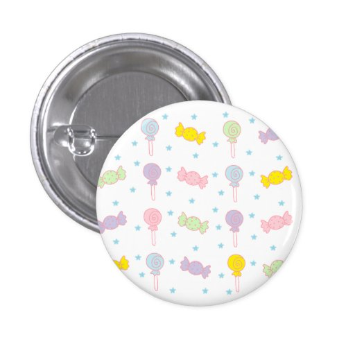 Colorful Candy and Stars Pinback Button