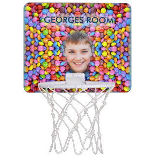 Colorful Candy Pattern - Smarties, Boy Smile, Mini Basketball Hoop