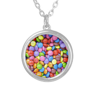 Colorful Candy Pieces Silver Plated Necklace