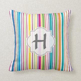 Colorful Candy Stripe - Custom Text Cushion