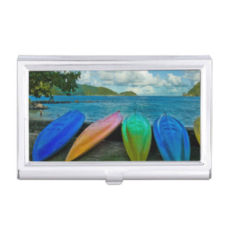 Colorful Canoes On The Beach In Pago Pago Business Card Holder
