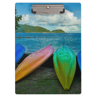 Colorful Canoes On The Beach In Pago Pago Clipboard