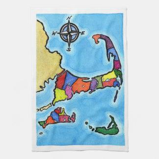 Colorful Cape Cod Map Tea Towel