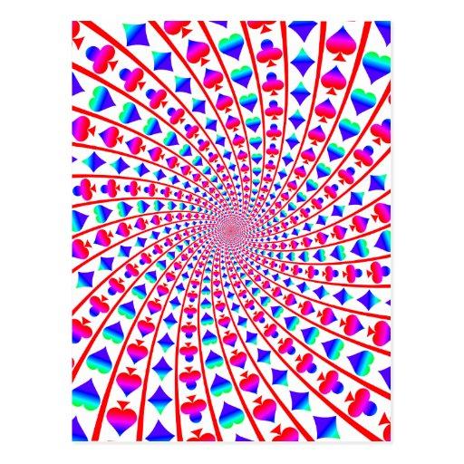 Colorful Card Suits Vortex Postcard