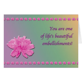 Colorful Carnation Embellishment card