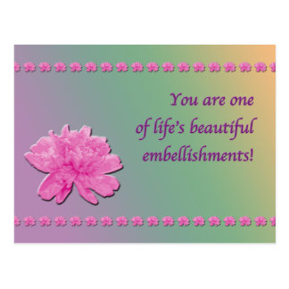Colorful Carnation Embellishments postcard