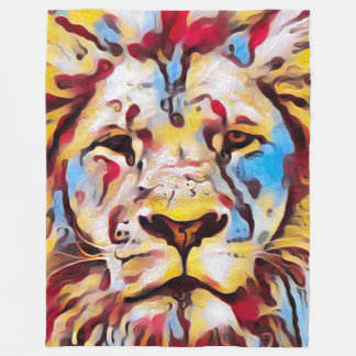 Colorful Carnival Lion Fantasy Art Fleece Blanket