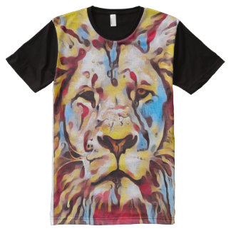 Colorful Carnival Lion Fantasy Paint Art All-Over Print T-Shirt
