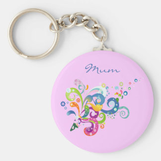 Colorful Carnival Streamers Design Basic Round Button Key Ring
