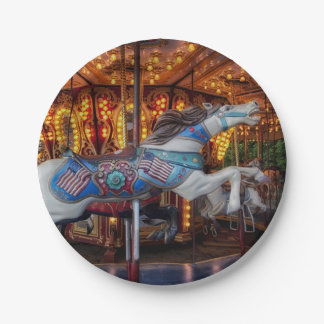 Colorful Carousel Horse and Merry Go Round 7 Inch Paper Plate