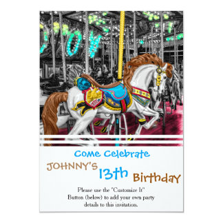 Colorful Carousel Horse at Carnival 13 Cm X 18 Cm Invitation Card
