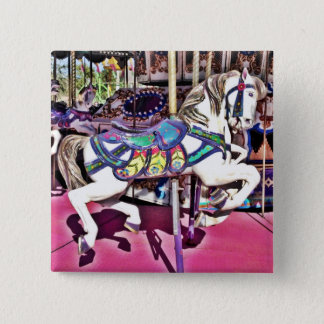 Colorful Carousel Horse at Carnival Photo Gifts 15 Cm Square Badge