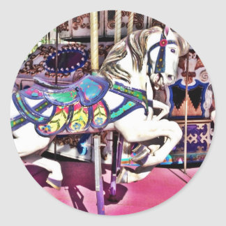 Colorful Carousel Horse at Carnival Photo Gifts Round Sticker
