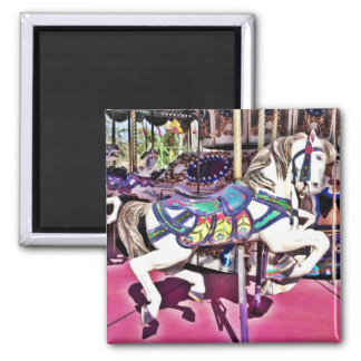 Colorful Carousel Horse at Carnival Photo Gifts Square Magnet