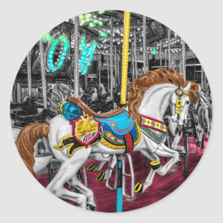 Colorful Carousel Horse at Carnival Round Sticker