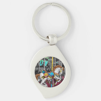 Colorful Carousel Horse at Carnival Silver-Colored Swirl Key Ring
