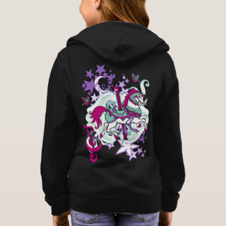 Colorful Carousel Horse Graphic Girls Hoodie