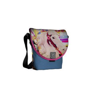 Colorful carousel horse photo mini messenger bag