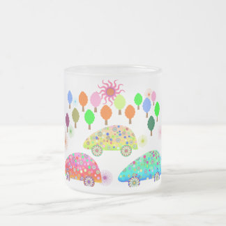 Colorful Cars C1 Frosted Glass Mug