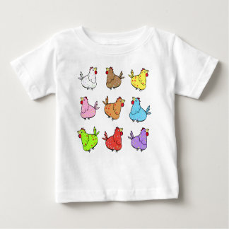 Colorful Cartoon Chickens - Baby T-shirt. Baby T-Shirt