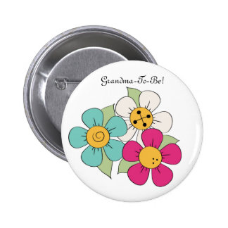 Colorful Cartoon Daisies Grandmother Button