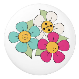 Colorful Cartoon Flowers Drawer Pull