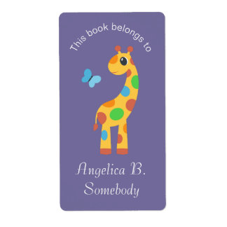 Colorful Cartoon Giraffe and Butterfly Bookplate