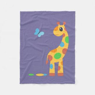 Colorful Cartoon Giraffe Custom Color Fleece Blanket