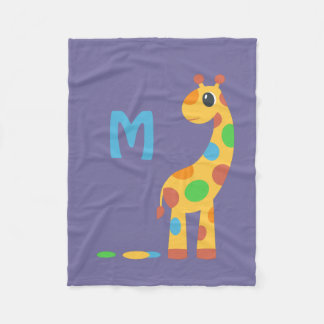 Colorful Cartoon Giraffe Monogram Fleece Blanket