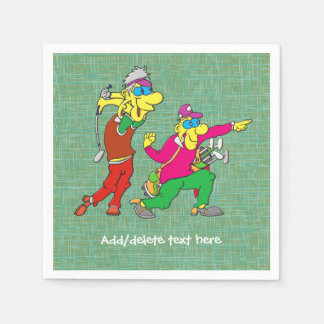 Colorful Cartoon Golfer and Caddie Disposable Napkin
