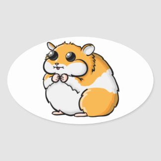 Colorful Cartoon Hamster with Big Eyes Oval Sticker