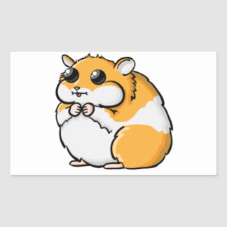 Colorful Cartoon Hamster with Big Eyes Rectangular Sticker