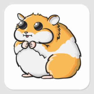 Colorful Cartoon Hamster with Big Eyes Square Sticker