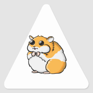 Colorful Cartoon Hamster with Big Eyes Triangle Sticker