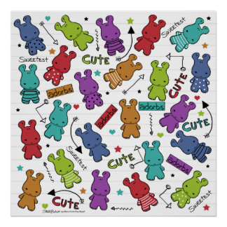 Colorful Cartoon Hippo Pattern Poster